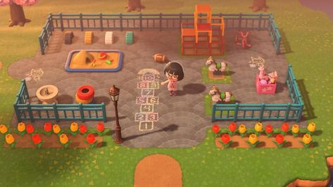 Check out my playground. It's a little unsettling since there's no children on the island. Animal Crossing Wild World, Animal Crossing Guide, Animal Crossing Pocket Camp, Playground Design, Children Playground, Motif Acnl, Motifs Animal, Island Design, Animal Logo