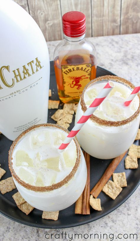 Cinnamon Toast Crunch Cocktail - Crafty Morning - Make a delicious and refreshing cinnamon toast crunch cocktail using fireball whisky and rum chata! Rumchata Drinks, Fireball Drinks, Rumchata Recipes, Fireball Recipes, Alcohol Drink Recipes, Milkshake Recipes, Fireball Whiskey, Alcoholic Desserts, Gelee