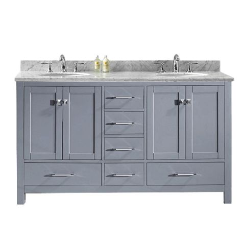 Caroline Avenue 60 Inch Double Vanity In Grey With Marble Top