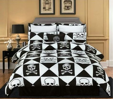 Twin Full Queen King Bed Black Beige Winged Skulls 4 pc Comforter Set Bedding