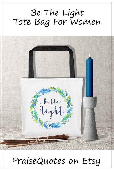 Tote Bag Be The Light Colorful Summer Shopping Grandmother Mom Birthday Gift Bible Verse Art For Religious Friend