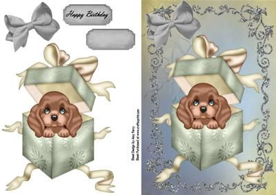 Cute Brown Puppy In A Gift Box on Craftsuprint designed by Amy Perry - Cute Brown Puppy In A Gift Box in lovely glitter frame on faded backing paper with matching silver bow also has choice of tags - Now available for download!