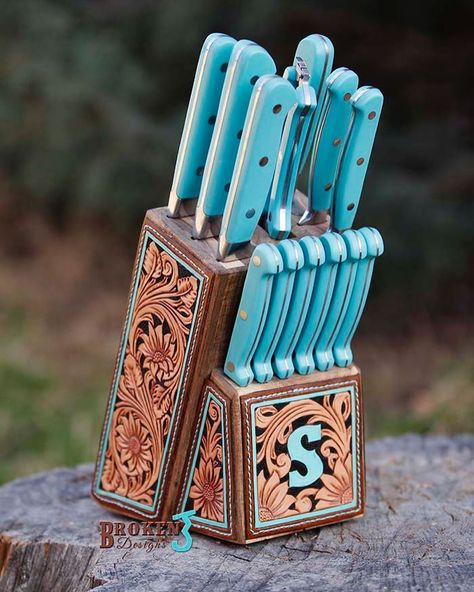 A Tooled Leather Knife Block To Accent Your Kitchen - COWGIRL Magazine - Cowgirl Table Settings - Can I do this to all of my kitchen appliances? Home Decor Kitchen, Rustic Kitchen, Diy Home Decor, Room Decor, Western Decor, Rustic Decor, Western Kitchen Decor, Rustic Wood, Leather Tooling