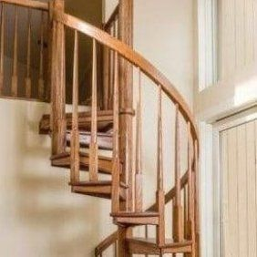 8 Ft Prefab Spiral Stair Kit The Madison Diy Staircase In 2020   8 Foot Spiral Staircase   Stair Railing   Winding Staircase   Stair Parts   Wood   Modern Staircase