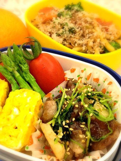 やきうどん、牛肉と長いもの中華炒め、プチトマト、玉子焼き、アスパラガス、みかん - 42件のもぐもぐ - 焼うどん弁当 by yuki5