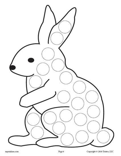Free Bunny Rabbit Do A Dot Printable Spring Dot Coloring Pages