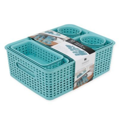 The Advantus 10-Piece Weave Bin Organizing Set has containers to hold all sorts of items. Perfect for pens, office accessories and documents in a home office, they're equally useful throughout the home. They nest for space-saving storage when not in use.