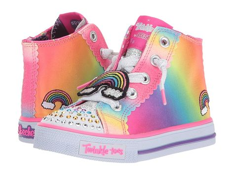 e9540a9ad61d6 SKECHERS KIDS Shuffles - Patch Party 10868N Lights (Toddler/Little Kid)  Girls Shoes Multi
