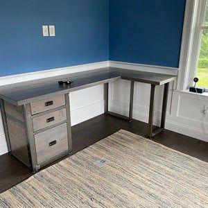 L Shaped Desk Desk With Modesty Panel Desk With Privacy Etsy In 2020 L Shaped Desk Reclaimed Wood Desk Wood Desk