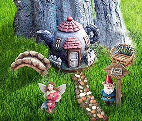 Amazon Com La Jolie Muse Fairy Garden Accessories Kit 6pcs Miniature Figurines House Set Hand Painted Fairies Gnome Statues F Fairy Garden Accessories Garden Accessories Gnome Statues