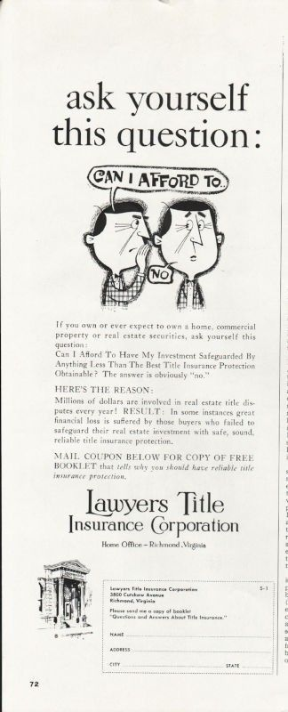 1966 Lawyers Title Insurance Corporation Vintage Ad Ask Yourself