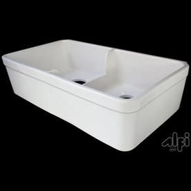 Alfi Brand 17 75 In X 32 In Biscuit Double Basin Fireclay Apron Front Farmhouse Residential Kitchen Sink Ab5123 B Products In 2019 Farmhouse Sink Kitchen