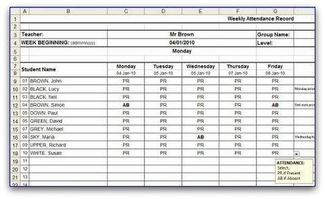 Weekly Attendance Sheet Template in MS Excel format Absent - attendance book template