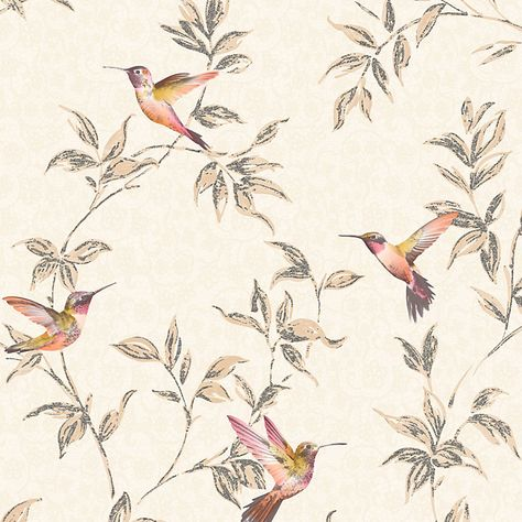 Cream /& gold with gold glitter Hummingbird wallpaper by Fine Decor