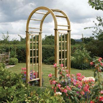 H2 5m 8ft 2in Wooden Round Top Garden Arch Fsc By Rowlinson