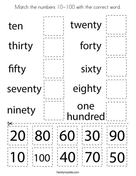 Match The Numbers 10 100 With The Correct Word Coloring Page Twisty Noodle Number Words Worksheets Numbers For Kids Kids Math Worksheets Preschool number worksheets 100