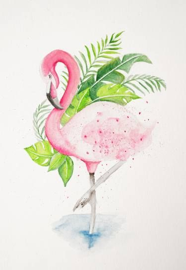 Buy Flamingo in Summer, a Watercolor Painting on Paper, by Susan Emanuella from Indonesia, For sale, Price is $135, Size is 11.7 x 8.3 x 0.1 in.