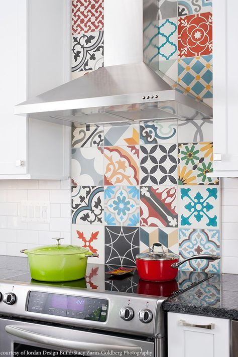 We love this colorful kitchen backsplash made of Patchwork Random from Cement Tile Shop. #housetrends #CementTile