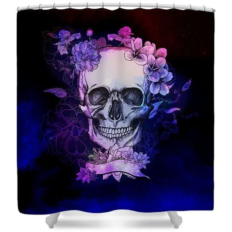 Shower Curtain Sugar Skull Calavara Floral Purple Twilight Space 60 Liked On Polyvore Featuring Home Bed Bath Curtains Bathroom