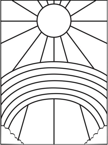 Rainbow And Sun Coloring Page Sun Coloring Pages Spring