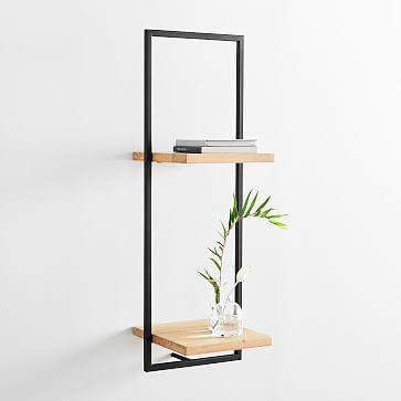 Shelfmate Wood Metal Tall Vertical Shelf Wood And Metal Shelves Wall Shelves Hanging Shelves