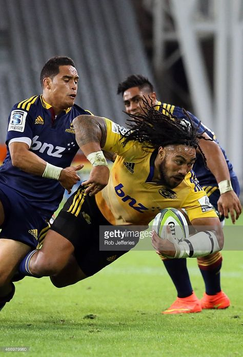 Maa Nonu of the Hurricanes on the charge during the round six Super Rugby match between the Highlanders and the Hurricanes at Forsyth Barr Stadium on March 2015 in Dunedin, New Zealand.