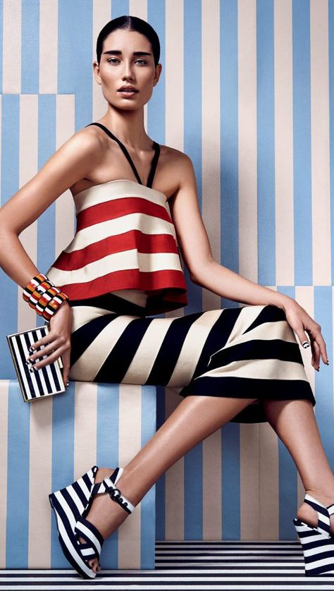 Publication: Marie Claire Brazil November 2014 Model: Marcelia Freesz Photographer: Nicole Heiniger Fashion Editor: Larissa Lucchese, pattern mixing, black and white stripes, white stripes