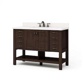 Allen Roth Kennilton 60 In Gray Oak Double Sink Mirror Bathroom