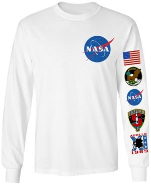 51fdd99ff5ed Changes Men's Long-Sleeve Nasa Graphic T-Shirt - White 2XL ...
