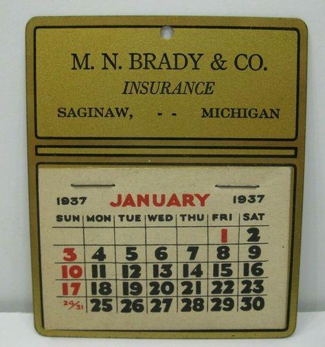 Details About 1937 Metal Advertising Calendar M N Brady Co