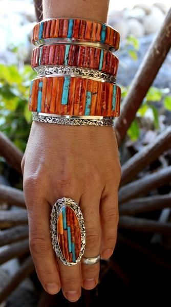 jewelry Cobble Stone Inlay Bracelet Spiny Oyster and Turquoise Navajo Handmade Clinton P. Cobble Stone Inlay Bracelet Spiny Oyster and Turquoise Navajo Handmade Clinton Pete