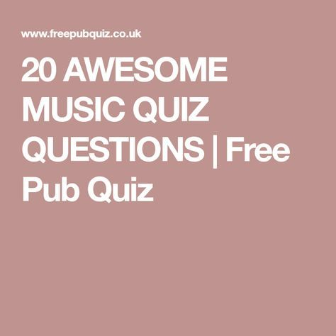 free pub music quiz questions and answers