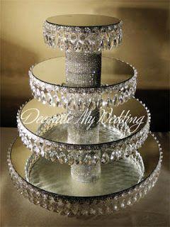 Crystal Cupcake stand - mirrors, bling pedestal, styrofoam and bling trim