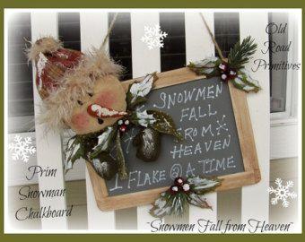 Primitive Snowman Pattern Snow Thyme Friends Snowman Make-Do Christmas PDF Clothdoll Sewing Pattern