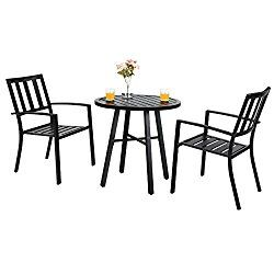 Phi Villa Outdoor Patio Metal 3 Piece Bistro Furniture Set With 2 X Chair 1 X Table Price December 2020 Bistro Furniture Patio Dining Set Patio Furniture Sets