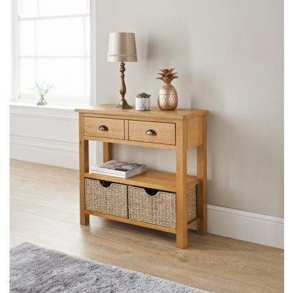 Wiltshire Oak Console Table With Storage Baskets Oak Console Table Sofa Table With Storage Storage Furniture Living Room