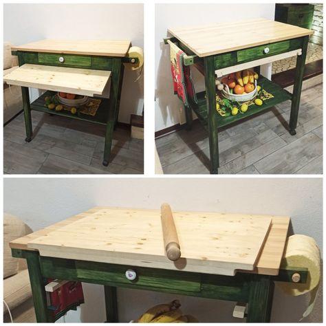 Piani Per Tavoli In Legno Vecchio.Modifiche Apportate Ad Un Vecchio Tavolo Da Cucina Aggiunto Ruote