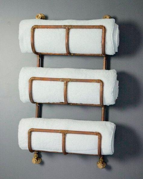 Copper Pipe Bathroom Towel Rack In An Industrial Urban Style 3