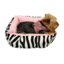 Anima Pink Ultra Plush Zebra Print Bed with Removable Pillow, 16 by 16 by 5.5-Inch