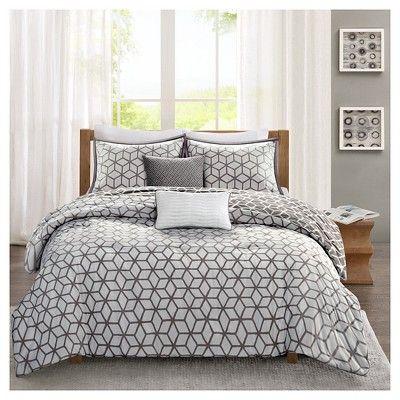 Gianna Geometric Cotton Comforter Set Full Queen 5 Piece Grey
