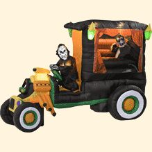 Inflatable Halloween Animated Hot Rod Hearse: Patio, Lawn