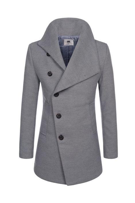 Gray Asymmetric Single Ted Wool, Mens Peacoat Slim Fit Grey