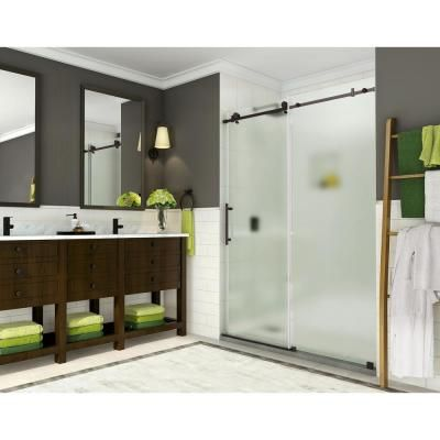 Aston Coraline 56 In To 60 In X 76 In Frameless Sliding Shower Door With Frosted Glass In New Bronze Tub Doors Frameless Sliding Shower Doors Bathtub Doors