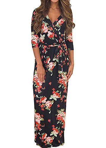 robe longue bohème femme manches 3 4
