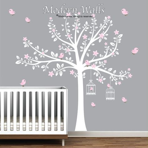White Tree Decal with Pink Flowers-Bird Decals-Nursery Wall Decals-Baby Wall Decor-Wall Stickers-removable, reusable wall decals, art-e05