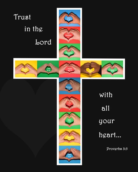 Love the idea & colour blocking, not the cross so much for my class.Class Auction Photo Projects, Cross with hands and hearts with favorite Bible verses