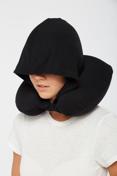 hooded travel neck pillow black