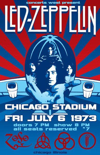 Led Zeppelin - 1973 - Chicago Stadium - Concert Poster #Vintage