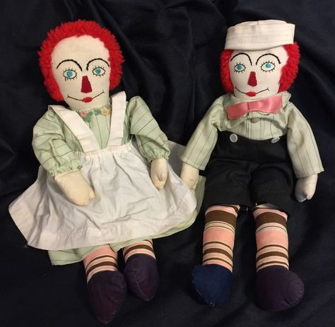 """Vintage Adorable Hand Made Raggedy Ann and Andy Dolls 20"""" #Dolls - don't want those eyes looking at me!"""