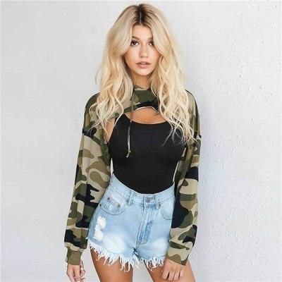 Women Long Sleeve Hooded Pullover Camouflage Sport Cotton Sweatshirt Blouse